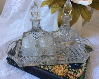 Beautiful Crystal Cut Glass Cruet Set