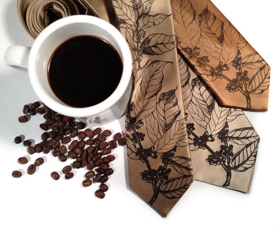 Coffee Lover Necktie. Coffee plant, coffee beans botanical print. Coffee drinker gift. Your choice of tie colors and width.