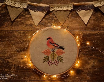 Pine grosbeak and hawthorn - modern autumn cross stitch PDF pattern, fall, leaves, autumn, hoop art, bird, berries, fall colors, primitive