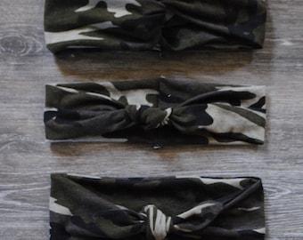 Camouflage Headband- Turban Headband - Top Knot Headband - Single Knot Headband
