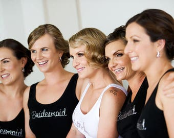 5 pack - Bridal Party wedding tanks with embroidered design. Available in white, pink & fuchsia.