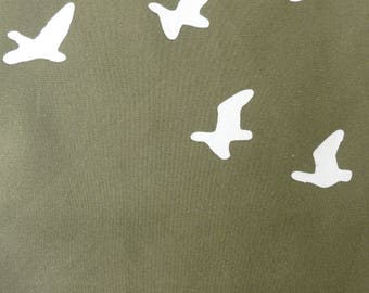 1/2 Yard Organic Cotton Fabric - Birch Fabrics Camp Sur 3, Flight Brown Poplin