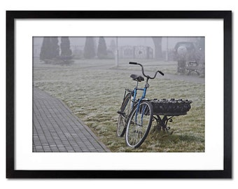 Bicycle in the fog - wall decor  photography - Fine art for any plase - canvas or paper print in sizes 8x12, 12x18, 18x24 or 24x36