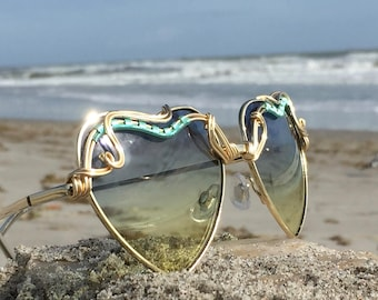 Blue & Yellow Ombre Heart Sunglasses, Artisan Sunglasses Women, Turquoise Wire Wrapped glasses, Hippie, Boho, Gypsy, Hippy, Chic, Bohemian