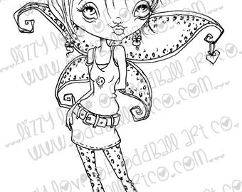 INSTANT DOWNLOAD Digi Stamp Digital Image Cute Big Eye Leopard Print Punk Fairy ~ Cinda Image No.184 & 184B by Lizzy Love
