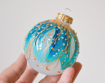 christmas ornament christmas bauble turquoise christmas tree ornament teal ornament glass ornaments