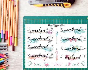 Weekend Planner Stickers | Watercolour Feathers | Brush Script Stickers | Weekend Buntings (FP-005)