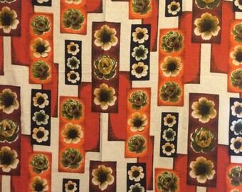 Retro Flower Curtains, Geometric Floral Curtains, Retro Drapes, Orange Curtains, 1950s Home Decor, Midcentury Curtains, Flower Curtains