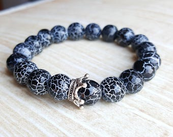 Crown Bead Bracelet black bead bracelets for women gemstone bracelet beaded bracelet stone bracelet gift for her agate bracelet