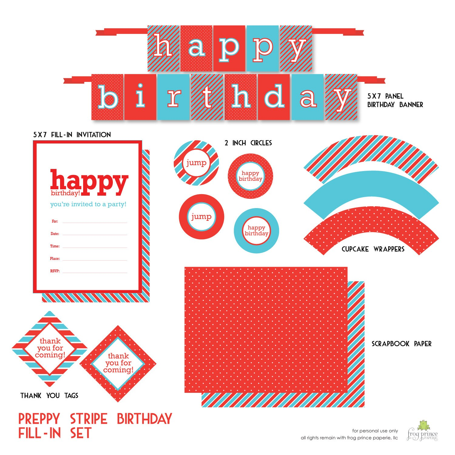 Preppy Stripes Fill-In Printable Party Pack