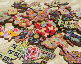 """Wood Bunny Buttons - Wooden Bunnies Rabbit Button - Bulk Sewing Crafting Buttons - 1 3/8"""" Wide"""