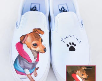 Custom Pet Portrait Vans Shoes - Hand Painted Dog Shoes - Dog Portrait - Custom Dog Shoes