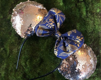 Gold Sequined Mouse Ears                      featuring                                                              Rifle Paper Co fabric b