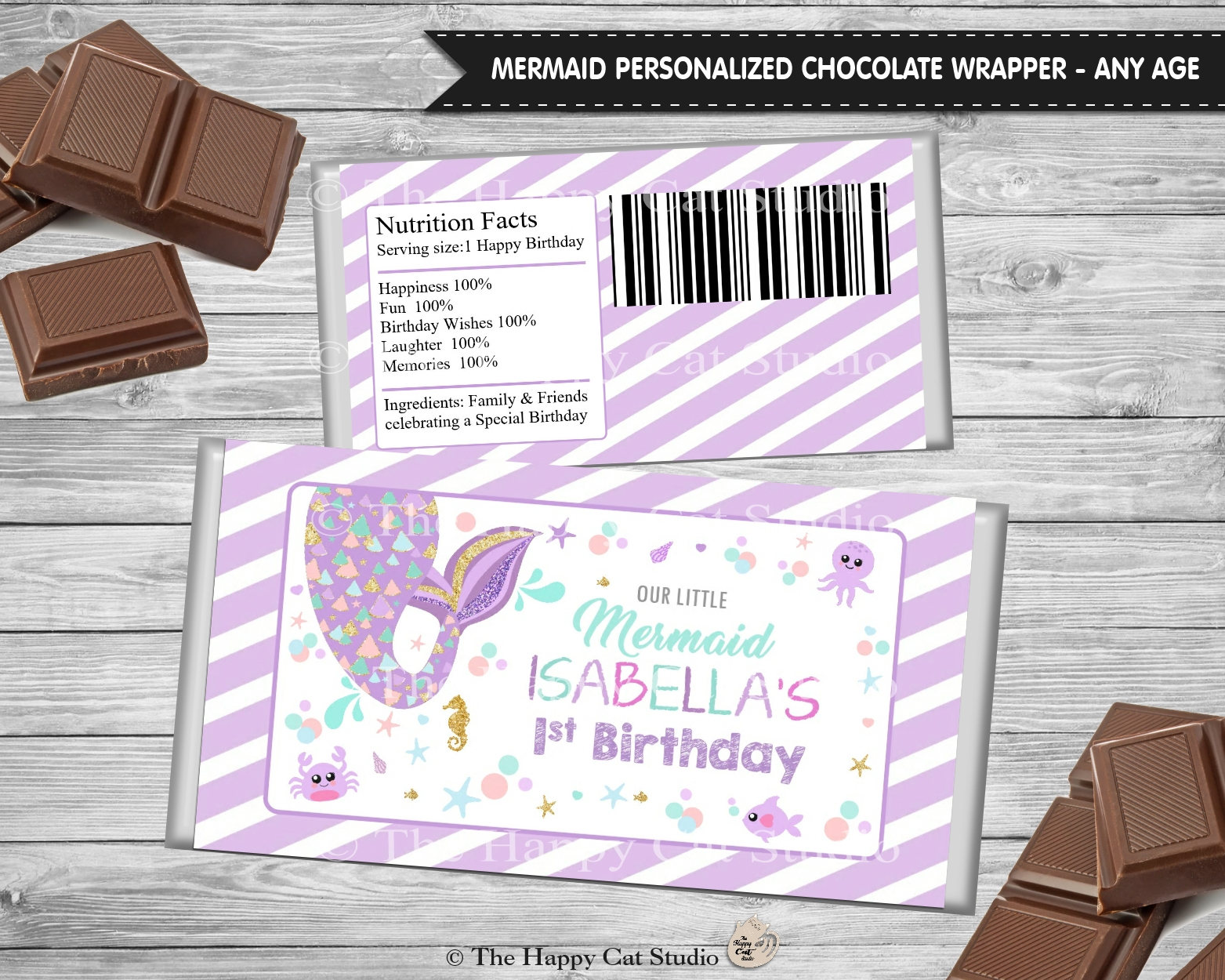 Mermaid Chocolate Bar Wrappers Personalized Printable 1st