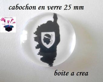 1 cabochon in. glass domed 25mm round Corsican flag