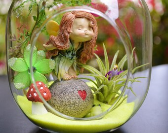 Fairy Kiss Terrarium Kit ~ Small Bullet Air Plant Terrarium Kit  ~ Fairy Garden Kits ~ Miniature Fairy ~ Just to say I LOVE YOU ~ Gift