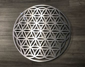 Flower of Life Sacred Geometry Metal Wall Art - Flower of Life Art - Metal Flower of Life - Metal Art  Silver Art - Wall Art - Home Decor