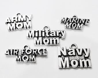 5 Assorted MILITARY MOM  Navy, Air Force, Marine, Army Charm Collection