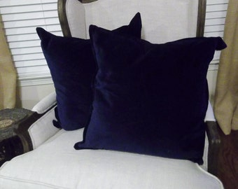 Blue VELVET Pillows Washed Velvet Pillow Shams Custom Sizes Velveteen Pillow Covers Decorative Pillows Christmas Decor French Country
