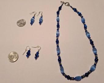 Blue Glass Bead Necklace + Earring + Earring Set