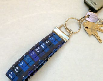 Time Traveling Blue Police Box Keychain or Zipper Pull- Padded Fabric Key Chain