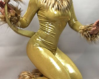 Gold Lion. Costume, catsuit with Fur.
