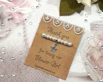 Thank You Flower Girl Bracelet, Flower Girl Bracelet, Flower Girl Gift, Flower Girl Jewellery Pearl Bracelet Wedding Party Gift Flower Charm