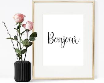 Bonjour Printable Quote, Printable wall art, Wall art