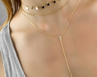 Dainty lariat necklace, Diamond lariat necklace, Gold lariat necklace, Y necklace, Delicate necklace, Dainty necklace, Cz lariat necklace
