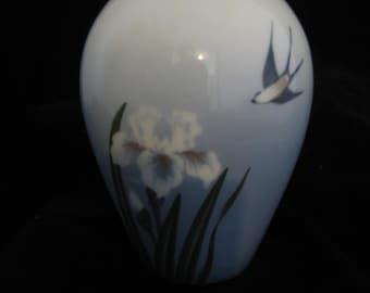 Royal Copenhagen Denmark Vase Swallow Bird Iris Blue Gray China Pottery