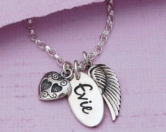 Personalized Silver Name Necklace with Angel Wing and Silver Heart Charm, Personalised Name Necklace, Silver Wing and Heart Necklace