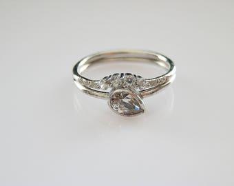 Engagement Ring Set - Pear CZ Ring - Stacking Wedding Rings - Christmas Gift