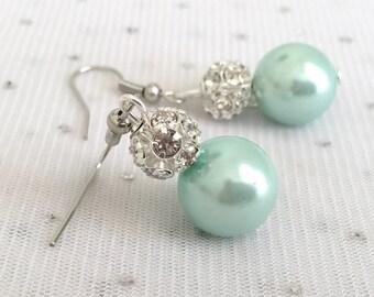 Mint Green Bridesmaid Rhinestone Pearl Earrings - Mint Green Wedding Jewelry - Seafoam Green Bridal Pearl Jewelry - Bridesmaid Jewelry Git