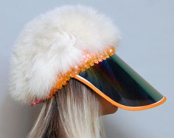 White Fox Fur Cloche Hat w/XL Rainbow Face Privatizer Visor & Orange Sequin Band