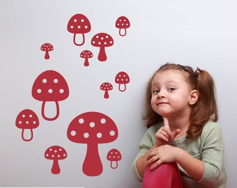 Mushroom Wall Decals Toadstool Woodland Baby Nursery Theme Wall Decals