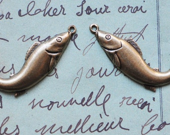 Two Fish Charms, Left and Right, Brass Ox, Charms, Brass Stampings, Findings, Jewelry Supplies Made in the USA