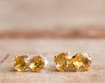 Citrine Stud Earrings, Gift For Wife, Mom Gift, Gemstone Earrings Studs, Citrine Jewelry, Citrine Ear Studs, November Birthstone Jewelry