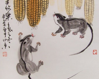 mouse  paintings Original  chinese  painting oriental art watercolour-mouse with corns  No.6
