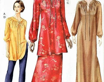 Vintage Very Easy VOGUE Caftan Tunic Skirt and Pants Pattern Evening or Short Length Classy Design UNCUT Factory Folded Size 20-22-24