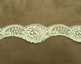 LACE in surbrodee stretch ivory Ribbon, 3.5 cm, for decorating, clothing, ideal for lingerie