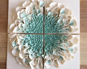 Ceramic Flower Wall Decor , Porcelain Blossom Tile, White Turquoise bloom Wall sculpture, Flower Sculptures, Floral Art Tile