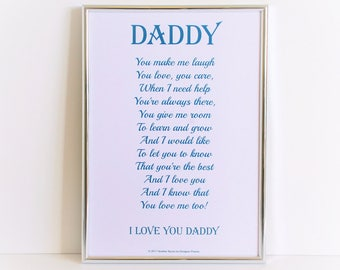 Daddy poem, father's day gift, father poem, dad poem, poem for father's day, daddy gift, dad gift, father gift, gift for daddy, personalised