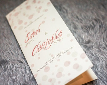 """Dotted Wedding Programs, Blush and Gold Wedding, Romantic Invites, Ceremony Programs - """"Delicate Dotted"""" Folded Booklet Program - DEPOSIT"""