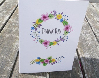 Thank you cards, set 10, 5 or 1 floral thank you card, wedding card, watercolour, thank you card set, thank you notes, thanks card, rustic