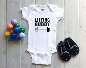 Lifting Buddy Onesie, Baby Onesie, Crossfit Baby, Weightlifting Baby, Fitness Onesie, Funny Baby Onesie, Gym Baby Onesie, Baby Gift, Baby