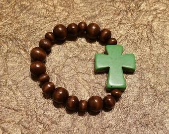 Wood bead green Cross stretch cord bracelet