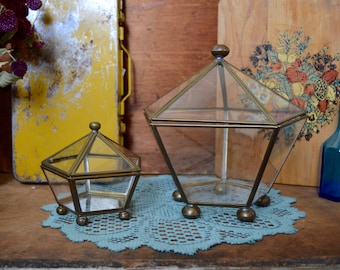 Vintage Dome Brass Geometric Terrarium Set Small and Large Glass with Hinge Top Matching Set of 2