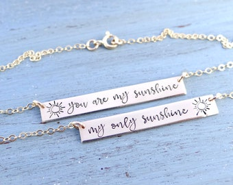 You Are My Sunshine Set of 2 Bar Necklaces in Your Choice of Metal.  Mommy & Daughter Matching Jewelry. You are My Sunshine My Only Sunshine