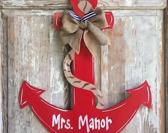 Anchor Door Decor, Wood Art Anchor, Anchor Door Hanger, Anchor Wall Art, Anchor Wall Hanging, Personalized Anchor, Nautical Decor, Nautical
