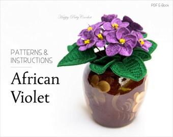 Crochet flower pattern african violet pattern crochet crochet flower pattern crochet african violet pattern crochet pattern for home decor ccuart Gallery